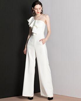 Witte Elegante Open Rug Jumpsuits Een Schouder Met Volant Lange Avondjurken