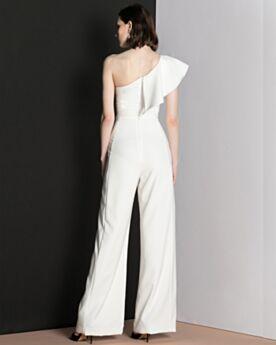 イブニングドレス パンツドレス シフォン バックレス フリル ロング ワン ショルダー ホワイト ノースリーブ 3519121210