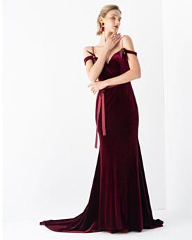 Vestidos De Fiesta Velvet Vestidos De Noche 2020 Vino Sin Manga Largos Tirantes Escote Corazon Corte Sirena
