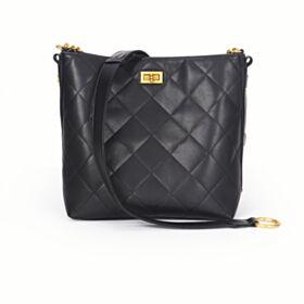 Leather Crossbody Bucket Bag Womens Handbag Black Studded Shoulder Bag Gold Chain
