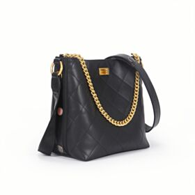 Leather Crossbody Bucket Bag Womens Handbag Black Studded Shoulder Bag Gold Chain