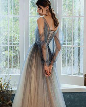 Dos Nu Brillante Robe Ceremonie Tulle Robe De Soirée Bretelles Fines Manche Longue Glitter Robe De Bal Chic Sequin Epaule Nu