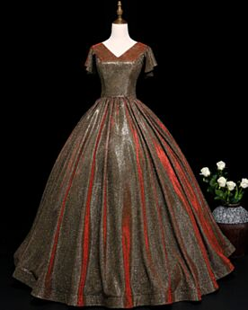 Braun Ballkleider Spitzen Lange Glitzernden Pailletten V Ausschnitt Kleider Für Festliche Prinzessin