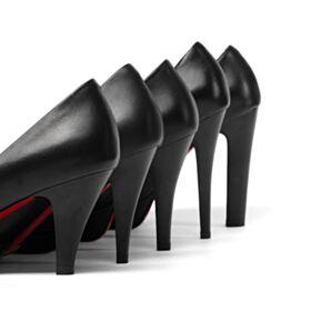Informales Primavera Cuero Vestido Para Trabajo Tacones Altos Suela Roja Negro Zapatos Tacon Stiletto