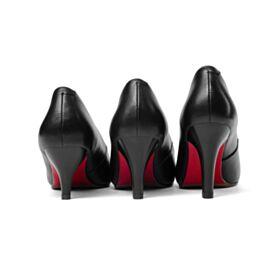 Stilettos Absatzschuhe 3 inch Mit Absatz Schwarz  Mit Rote Sohle Leder Spitz Zeh Klassisch High Heels