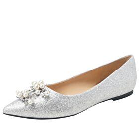 Perle Ballerine Chaussure Mariage Argenté Paillette Bout Pointu Brillante