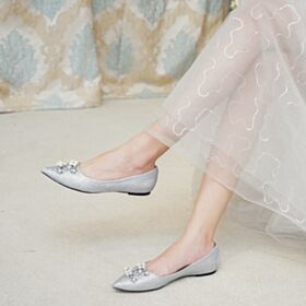 Sparkly Bridals Wedding Shoes Ballet Flat Silver Glitter Spring