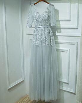 Perlen Lange Silber Empire Abendkleid Brautjungfernkleid V Ausschnitt Spitzen Applikationen Festliche Kleider