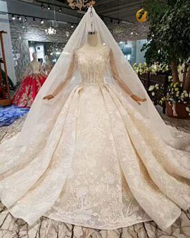 Brillante Robe De Mariée Manche Longue Glitter Dentelle Longue Dos Nu Luxe