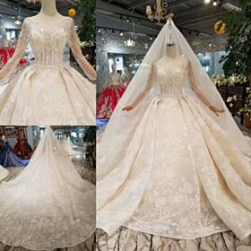 Glitter Long Gorgeous Beading Long Sleeves Embroidered Lace Sparkly Bridal Gown Church Backless Ball Gown