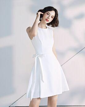Bianco Vestiti Cerimonia Chiffon Svasato Con Cintura Corti