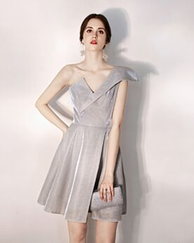 Backless Short Glitter Gray Cocktail Dress Low Cut Fit And Flare Juniors