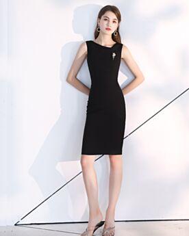 Simple Semi Formal Party Dress LBD Knee Length Charmeuse Black Sleeveless