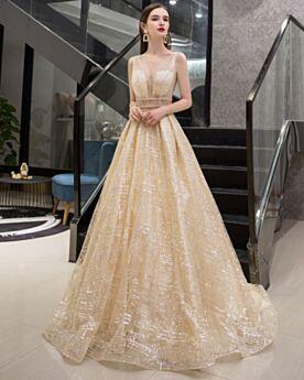 シャンパン プロムドレス キラキラ パーティー ドレス スパンコール バックレス ボール ガウン 3619101119
