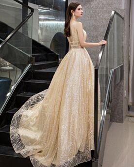Vestidos Prom Brillantes Estilo Princesa Hombros Descubiertos Lentejuelas Color Champagne Sin Espalda Escotados