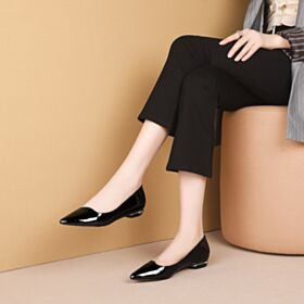 2020 Petit Talon Vernis Bout Pointu Simple Noir Ballerine Femme Plates