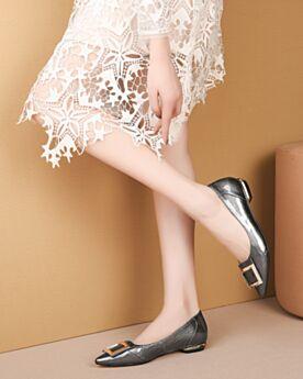Runtige Neus Lak Ballerina Platte Grijze Comfort
