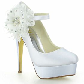Creme Mit Strasssteine Plateau Knöchelriemen Hochzeitsschuhe Stilettos Pumps Elegante 13 cm High Heel