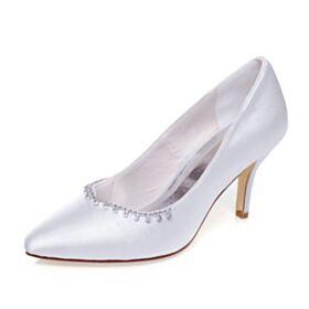 De Punta Fina Tacon Alto Blanco Con Strass Zapatos De Novia Stilettos Zapatos Con Tacon