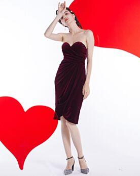 Sheath Bandeau Split Knee Length Burgundy Velvet Plunge Vintage Simple Cocktail Dress Open Back