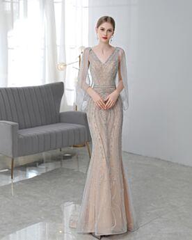 Tiefer Ausschnitt Kristall Abendkleid Rückenausschnitt Herrlich Perlen Lange Konfirmationskleid Pailletten Kleider Für Festliche Glitzernden