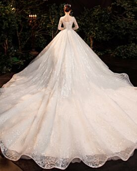 Schiena Scoperta Manica Lunga Avorio Scollo Profondo Glitter Eleganti Vestiti Da Sposa Tulle Paillettes Luccicante