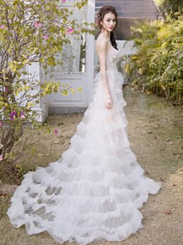 Princess Bridal Gowns White Beach Open Back Bohemian Strapless Outdoor Sexy Long