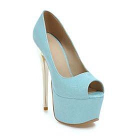 High Heels Peep Toe Platform Pumps Shoes Over 5 inch Light Blue Stilettos