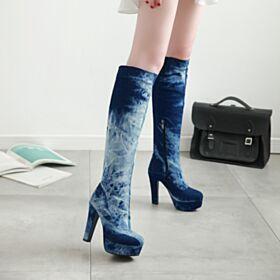 Stiefel Stilettos Mit Absatz Runde Zeh High Heel 12 cm Jeans Marineblau Plateau Kniehohe Stiefel