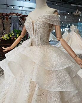White Off The Shoulder Ruffle 2019 Sequin Long Wedding Dress Backless Glitter Sparkly Low Cut Boho Tulle With Train