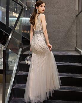 Spitzen Tiefer Ausschnitt Partykleider 2020 Perlen Jugendweihe Abendkleid Rückenausschnitt Etui Strasssteine Ärmellos