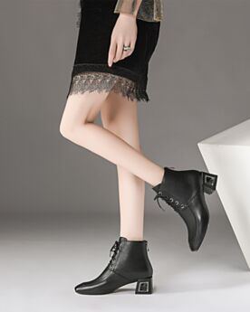 Gefütterte Ankle Boots Schwarz Leder Chunky Heel Klassisch Schnürens Business Schuhe Comfort