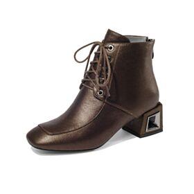 Mit 5 cm Absatz Ankle Boots Blockabsatz Gefütterte Runde Zeh Business Schuhe