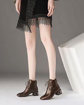 5 cm Petit Talon Classique Bout Rond De Sortie Chaussures Bureau Vernis Bottines Lacets