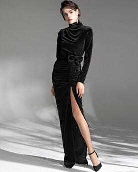 Fendue Robe Soirée Fourreau Velours Col Haut Modeste Manche Longue Longue Originale Robe Mère De Mariée
