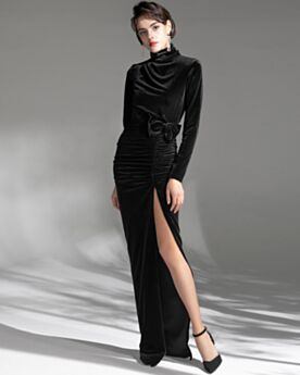 Mother Of Groom Dress Evening Dresses Modest Velvet Long Sleeved Black High Neck Sheath