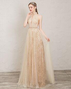 Robe De Bal Dentelle Longue Princesse Plissée Cristal Robe De Soirée Col Haut