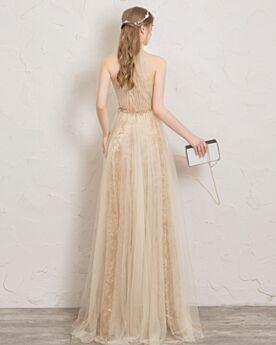 Escotados Color Champagne Plisado Cuello Alto Vestidos De Noche Corte Imperio Con Encaje Largos