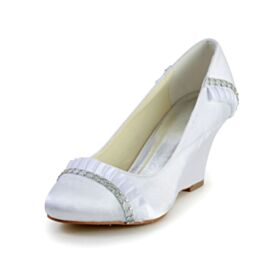 Punta Redonda Con Volantes Zapatos De Boda Con Strass Cuña Zapatos Tacon Elegantes Blanco 7 cm Tacones