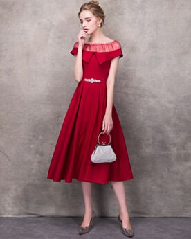 Semi Formal Dresses Tea Length Tulle Simple Cocktail Dresses Red Scoop Neck Beautiful Peplum Sleeveless A Line Summer See Through