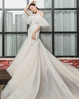 Garden Summer Mermaid Wedding Dress Long Appliques Lace Beach Bell Sleeve Ivory