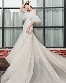 Meerjungfrau Brautkleid Transparentes Strand Spitzen Luxus Lange