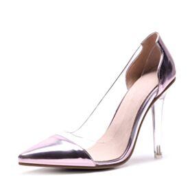 Mit Absatz Transparentes Pumps High Heels Lack 4 inch Spitz Zeh Stilettos Rosa