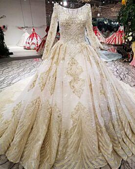 Applikationen A Linie Rundhalsausschnitt Perlen Glitzernden Elegante Brautkleider Lange Ärmel Spitzen Glitzer Kirche