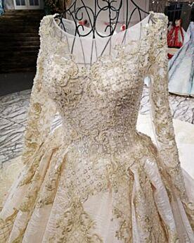 Oro Glitter Abiti Sposa Con Strascico A-Line Pizzo Tulle Bellissimi Ricamato Luccicante Maniche Lunghe