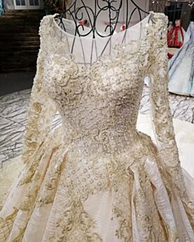 Princess Long Sleeves Beading Wedding Dress Gorgeous Glitter Long Embroidered Charming Gold Sparkly Lace