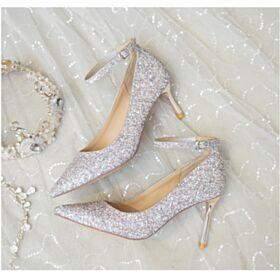 Brillante Bout Pointu Bride Cheville 2019 Chaussure De Soirée Paillette Chaussure Mariée Talon Aiguille 8 cm Talons Hauts Argenté Escarpins