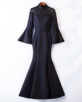 Satin Manche Cloche Manche Longue Longue Col Haut Robe Pour Mariage Élégant Robe Mère De Mariée Noire Fendue