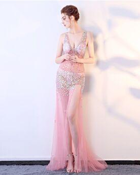 Vestiti Gala 2019 Trasparenti Schiena Scoperta Con Tulle Lungo Scollo Profondo Rosa Cipria Luccicante Abiti Cerimonia