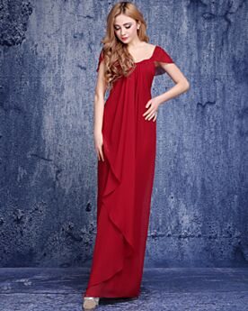 Semplici Vestiti Per Matrimonio Schiena Scoperta Impero Eleganti Maniche Corte Abiti Cerimonia Lungo Rosso Abiti Damigella
